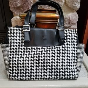 Ralph Lauren black/white herringbone tote